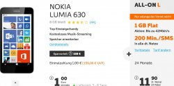 @simyo.de: NOKIA LUMIA 630 WEISS + 200 Min. / SMS in alle Netzt + 1GB Intenetflat – 11,90€ im Monat