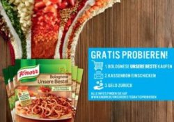 Spagetti Bolognese Gratis durch die Probier-Aktion von Knorr Fix Bolognese