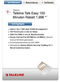 Talkline Talk Easy 100 im Telekom Netz für eff. 1,99 € mtl. (100 min, 3000 SMS, 200 MB) @logitel.de