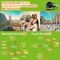 Testen Sie die neuen Verbindungen in Europas Metropolen schon ab 5€! @Meinbus