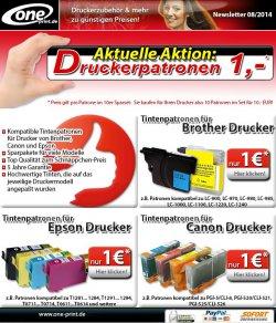 Tintenpatronen für je 1€ für für Drucker von Brother, Canon und Epson @oneprint.de