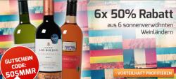 Weinvorteil: 50% Rabatt auf nicht reduzierte Weine oder 6 Flaschen Wein gratis oder 10€ Gutschein ohne MBW