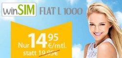 @winSIM FLAT L 1000: Allnet + SMS + 1-GB-Internet-Flat mit 1 Monat Laufzeit für 14,95€ mtl. [Normalpreis: 19,95€]