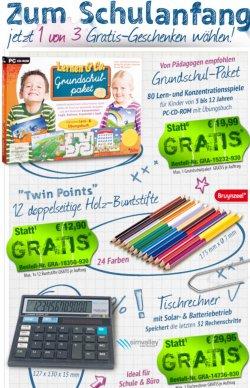 Zum Schulanfang gratis bei pearl dazubestellen: Solartaschenrechner, Twin Points Stifteset, Lern & Co Grundschulpaket (zzg.Versand)
