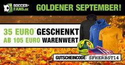 35€ Rabatt ab 105€ MBW auf alle Artikel @Soccer-Fans-Shop.de (auch auf bereits reduzierte) + 3,99€ Versand