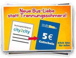 5-Euro-Gutschein für ehemalige city2city-Kunden bei @DeinBus.de
