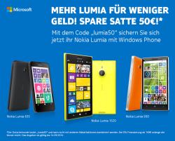 50 € Rabatt mit Gutscheincode auf alle Nokia Lumia @Notebooksbilliger z.B. Nokia Lumia 635 schwarz für 129,00 € (153,90 € Idealo)