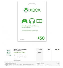 50€ GuthabenkarteXbox Live Gutschein  für 34,78€ @Conrad