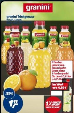 Ab Montag: 6 Flaschen Granini Fruchtig & Leicht + 1x Granini Die Limo für 61 Cent pro Flasche@Real
