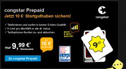 Congstar Prepaid Starterpaket mit 10€ Guthaben statt 9,99€ für 4€ Congstar