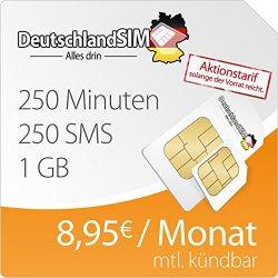 DeutschlandSIM SMART 1000 (250 Minuten, 250 SMS, 1GB Internet, monatlich kündbar) für 8,95 €/Monat und nur 4,95€ Anschlussgebühr (sonst 19,90€)