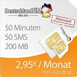 DeutschlandSIM SMART 200 (50 Minuten, 50 SMS, 200GB Internet, monatlich kündbar) für 2,95 €/Monat und nur 4,95€ Anschlussgebühr (sonst 19,90€)