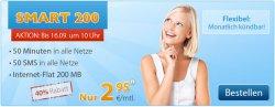 @discoplus.de SMART 200 Aktion für 2,95€ mtl. (50 min, 50 SMS, 200 MB) monatlich kündba. 40% Rabatt.