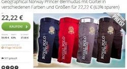 Geographical Norway Bermudas mit Gürtel  für 22,22 € statt 44,90€ @groupon