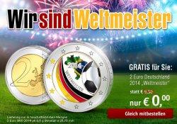 Gratis 2-Euro-WM-Gedenkmünze bei @Reppa (zzgl. 3,95€ Versand)