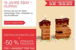 15 Jahre eBay: Kostenlos Einstellen + – 50% Verkaufsprovision für 1 Angebot pro Tag sparen