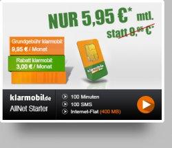 Klarmobil – 100 Freiminuten + 100 SMS + 400 MB für 5,95€ mtl. @Handyflash.de