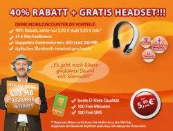 klarmobil Allnet Starter 400 + Gratis Bluetooth-Headset für 5,95€ mtl. @eBay