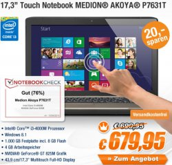 MEDION AKOYA P7631T MD98587 TOUCH NOTEBOOK nur 679,95€ inc. Versand (idealo:ab 700€)