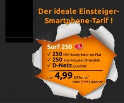 Mobilcom Debitel Einsteigertarif mit 250 Min./SMS +250 MB Internet im Vodafone-Netz für 7,50€ mtl. @crash-tarife.de