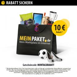 Nur heute gültig 10€ Gutscheincode ab MBW 50€ @MeinPaket – nur am heutigen Montag gültig!