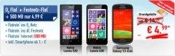 O2 Flat, Festnetz-Flat + 500MB statt 300MB mit zb. Nokia Lumia 520 für 4,99€ mtl. @ Handybude