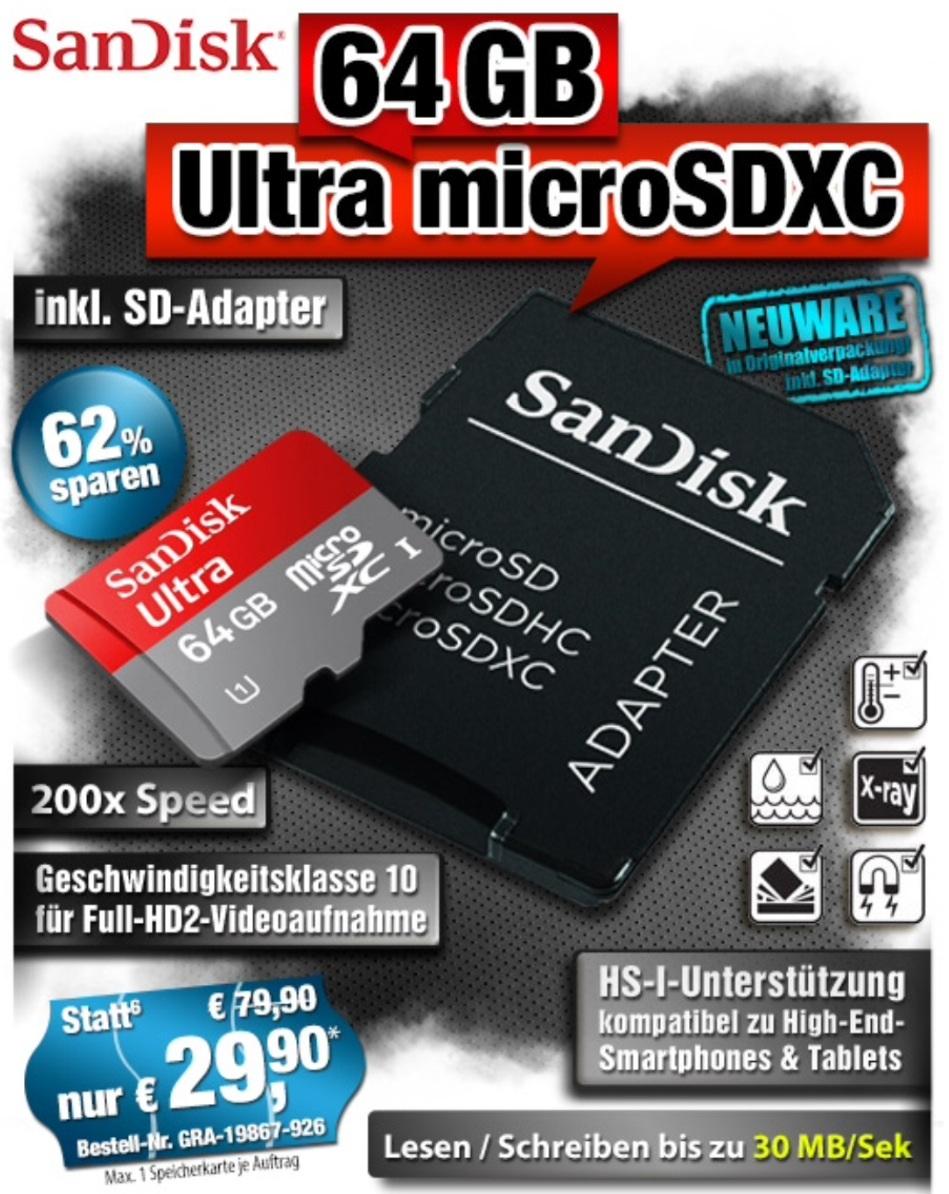 Sandisk 64gb Ultra Micro Sd Karte Class 10 Inc Adapter 2990 Zzg Mikro Zzgversand Pearlde Liveshopping Aktuell