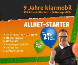 Sonder-Aktion Allnet Starter bei @crash-tarife (100 SMS 100 Minuten 300MB Internet) für 2,95€/Monat