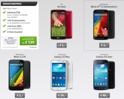 Sparhandy Livedeal : Allnet Starter (D-Netz) + zb. Motorola Moto G 2nd Generation für 7,95€ mtl.
