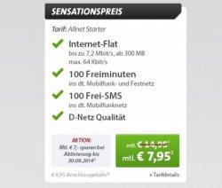 Sparhandy Livedeal: Allnet Starter Tarif mit 300MBit Flat + 100 Freiminuten in alle Netze für günstige 2,95€ im Monat (Micro oder Nano-Sim)