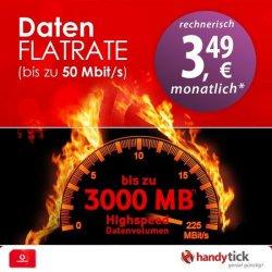 Vodafone MobileInternet Flat mit 3GB & bis zu 50 Mbit/s rechnerisch ab 3,49€ mtl @handytick