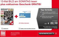 13 Ausgaben BILD am SONNTAG für 22,10€ und 25€ Gutschein für Flixbus bekommen