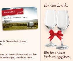 2 Weingläser gratis bein Anmeldung zur kostenlosen Kundenkarte von Jaques Weindepot