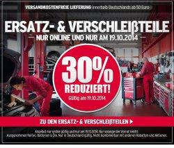 30% auf alle Ersatz- bze. Verschleißteile am 19.10.2014 bei @ATU.de