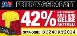 42% Feiertagsrabatt auf schwarze, rote und gelbe Artikel +5 € bet-at-home Gutschein @SC24.com!