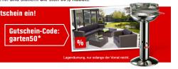 50% Gutschein auf ausgewählte Gartenmöbel und Grills bei OBI
