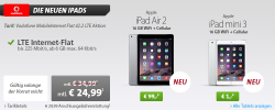 Apple iPad mini 3 16GB WiFi + Cellular für 1 € + Vodafone MobileInternet Flat 42.2 LTE Aktion für 24,99 € mtl. @Sparhandy