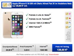 Apple iPhone 6 16 GB mit Otelo Allnet Flat XL für 29,99 € im Monat + einmalig 139 € @amid-elektronik.de