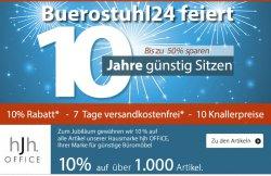 Buerostuhl24.com feier 10-Jähriges mit 10% Rabatt, Versandkostenfrei und 10 Top-Angebote