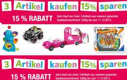 galleria-kaufhof.de: 15% auf alla Spielwaren bei Kauf von 3 Artikel
