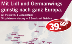 Germanwings Europa One-Way Tickets ab 39,99€ inkl. Steuern @ Lidl