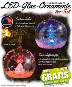 Gratis: 2 mundgeblasene Echtglaskugeln je 80mm mit Farbwechsel LED @pearl.de