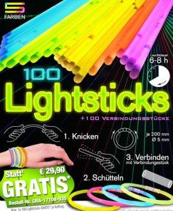 Gratis bei Pearl: 100 Knicklichter / 100 Steckverbinder für die dunkle Jahreszeit (zzg.Versand)