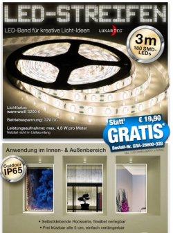 Gratis bei pearl: 300 cm länger LED Strip wassergeschützt 0,-€ statt 19,90€ (zzg.Versand)