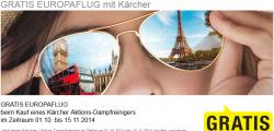 GRATIS Hin- und Rückflug für eine Person innerhalb Europas beim Kauf eines Kärcher Aktions-Dampfreinigers (Geräte schon ab 92,99 €) @karcher.com und Saturn