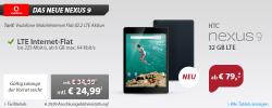 HTC Nexus 9 32GB LTE für 79 € (569,00 € Idealo) + Vodafone MobileInternet Flat 42.2 LTE für 24,99 € mtl. @Sparhandy