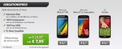 Internet-Flat + 100 Freiminuten + 100 SMS + Smartphone z.B. Motorola Moto G LTE oder LG G2 Mini (1 € Zuzahlung) für 7,95 € mtl. @Sparhandy