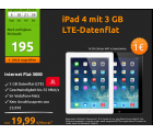 IPad 4 mit 3 GB LTE-Flat Vodafone für 19,99 € mtl. @ Crashtarif
