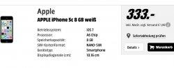 iPhone 5c ab 333,-€ (8GB) Idealo ab 384€  – jetzt online bei Media Markt (zzg Versand ab 1,99€)