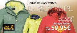 Jack Wolfskin Sale bei Globetrotter z.b. die Jack Wolfskin Muddy Pass XT Männer Jacke für 84,95 € [ idealo 98,77 € ] @Globetrotter